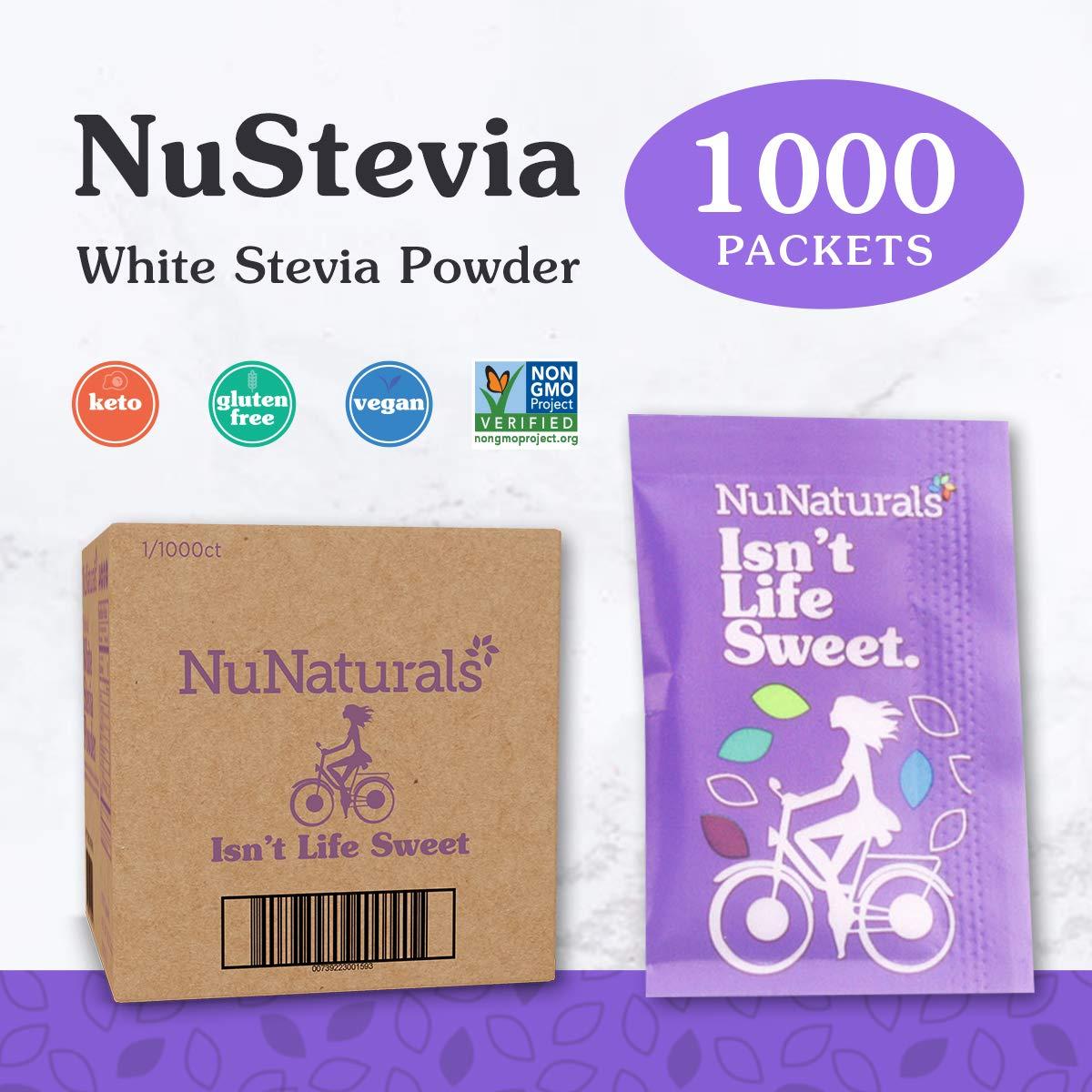 NuNaturals White Stevia Powder All Purpose Natural Sweetener, Sugar-Free 1,000 Packets