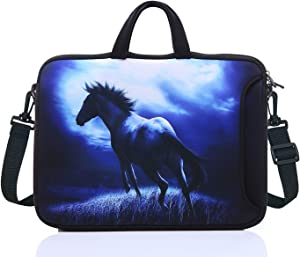 """17.3-Inch Laptop Shoulder Sleeve Bag Case With Handle For 17 17.3"""" Acer Dell Hp (Blue Horse)"""