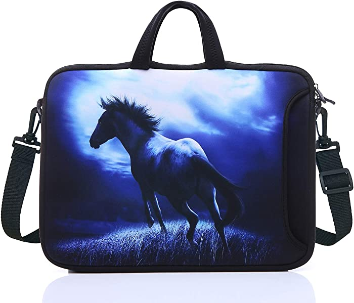 "17.3-Inch Laptop Shoulder Sleeve Bag Case With Handle For 17 17.3"" Acer Dell Hp (Blue Horse)"