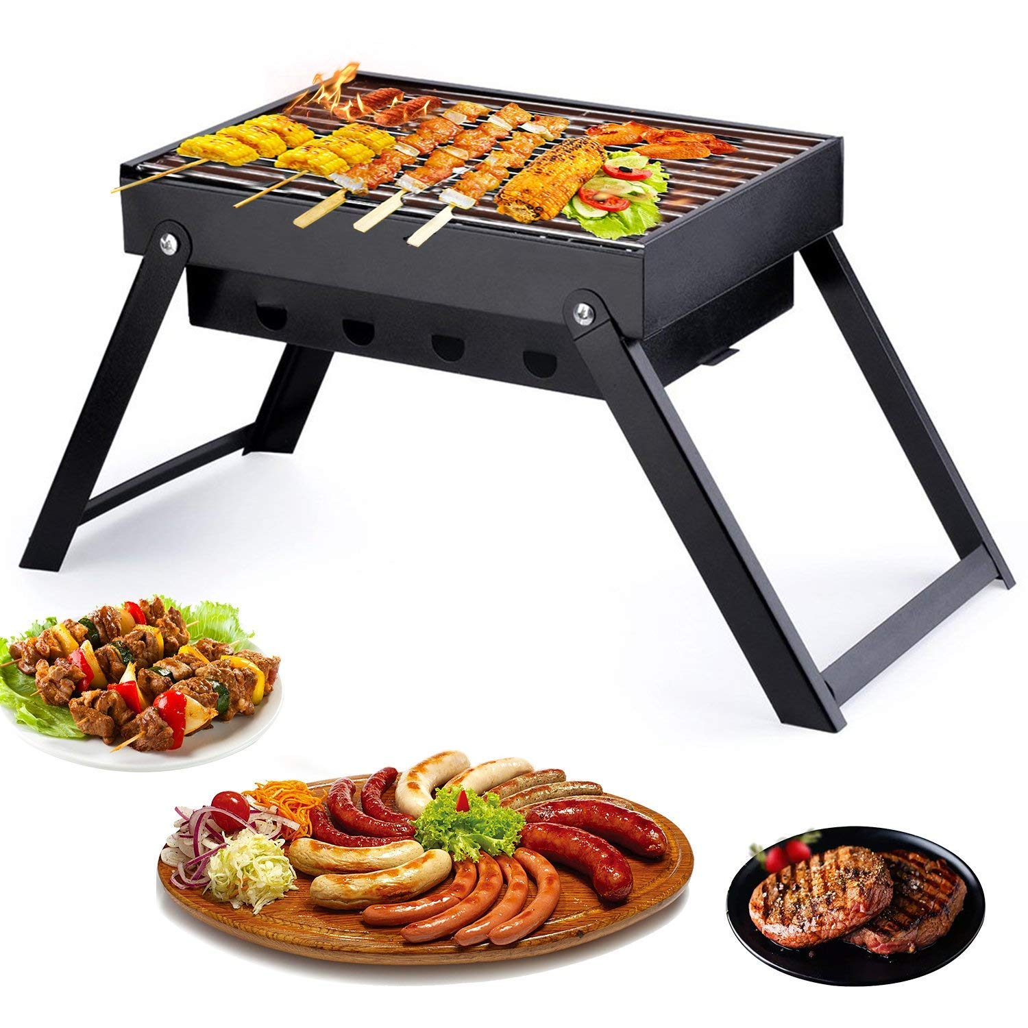Burrby Portable BBQ Grill, Foldable Stainles Charcoal Barbecue Table Camping Outdoor Garden Grill BBQ Utensil(3 pounds)