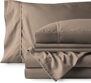 Bare Home Bedding Bundle - 6 Piece Microfiber Sheet Set with 4 Pillowcases (Full XL, Taupe)