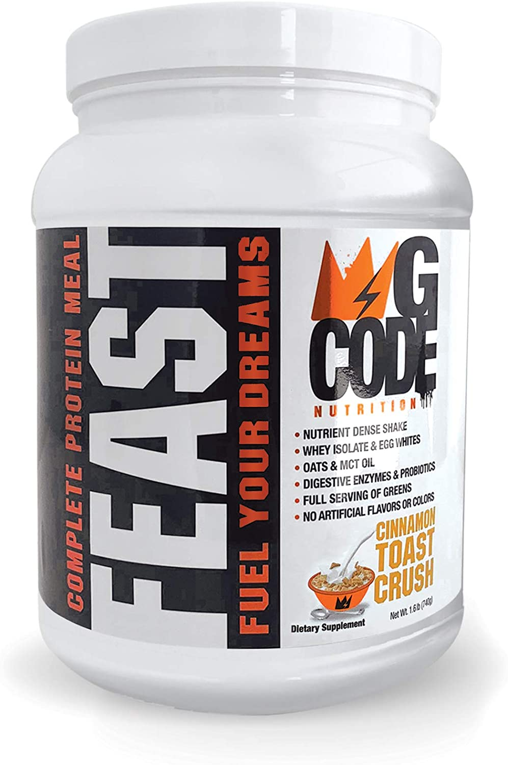 GCode Feast Complete Protein Meal Cinnamon Toast Crush Whey Isolate, Egg Whites, Oats, Organic Greens, MCT Oil, Probiotics, Digestive Enzymes