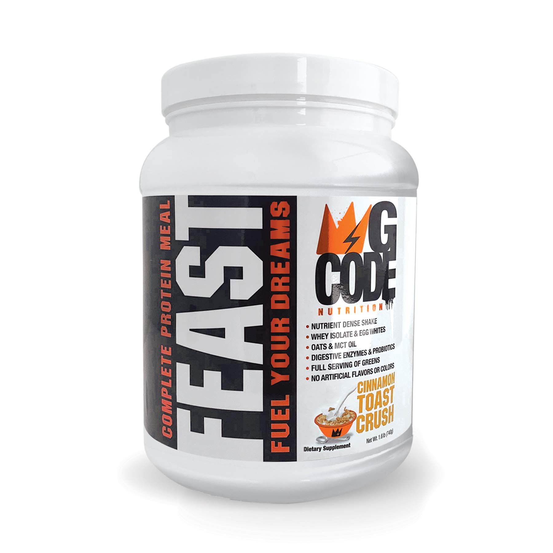 GCode Feast Complete Protein Meal (Cinnamon Toast Crush) Whey Isolate, Egg Whites, Oats, Organic Greens, MCT Oil, Probiotics, Digestive Enzymes