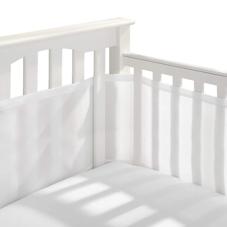 Genuss Crib Bedding Bumper Set of 2 Baby Crib Bumper Mesh Adjustble Breathable Mesh Crib Liner Cotton Mesh Bumpers for Baby Crib 11.8'' x 134''&11.8'' x 63'' (White) : Baby