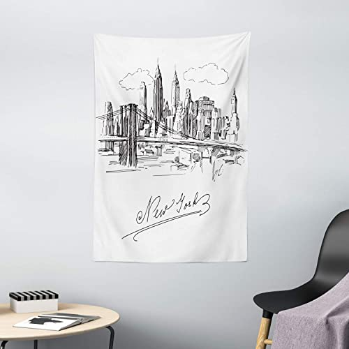 Ambesonne NYC Tapestry, New York City Contemporary Business Metropolis Corporate Town Monochromic Sketch, Wall Hanging for Bedroom Living Room Dorm Decor, 40 X 60 , White Black