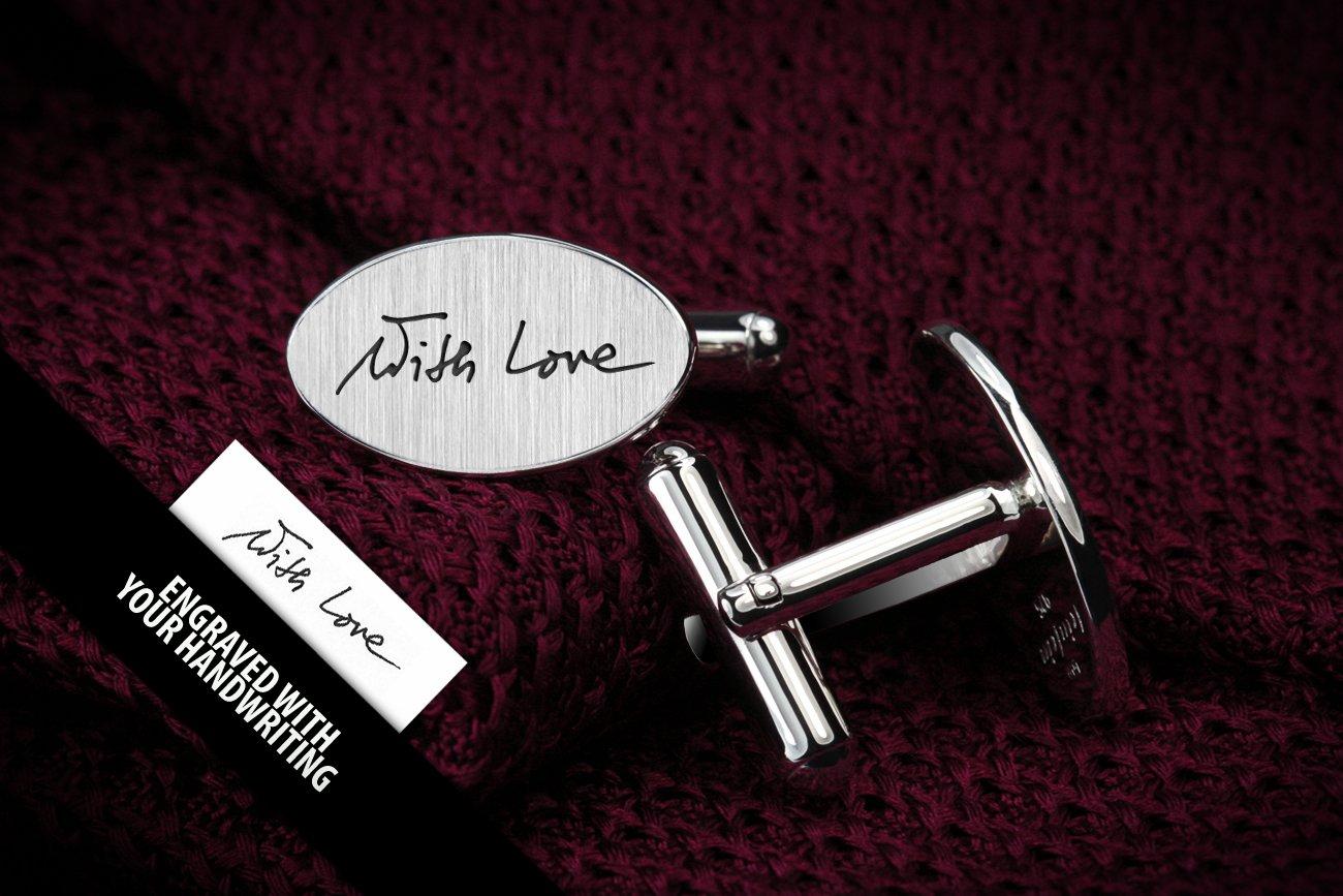 Personalized Cufflinks Handwriting - Engraved Cufflinks - Wedding Cufflinks - Valentines gift for husband