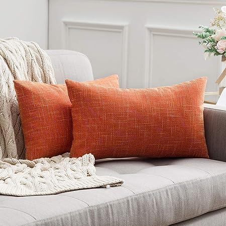 Cuscini Arancioni Per Divano.Miulee Confezione Da 2 Federe Cuscini Copricuscini In Lino