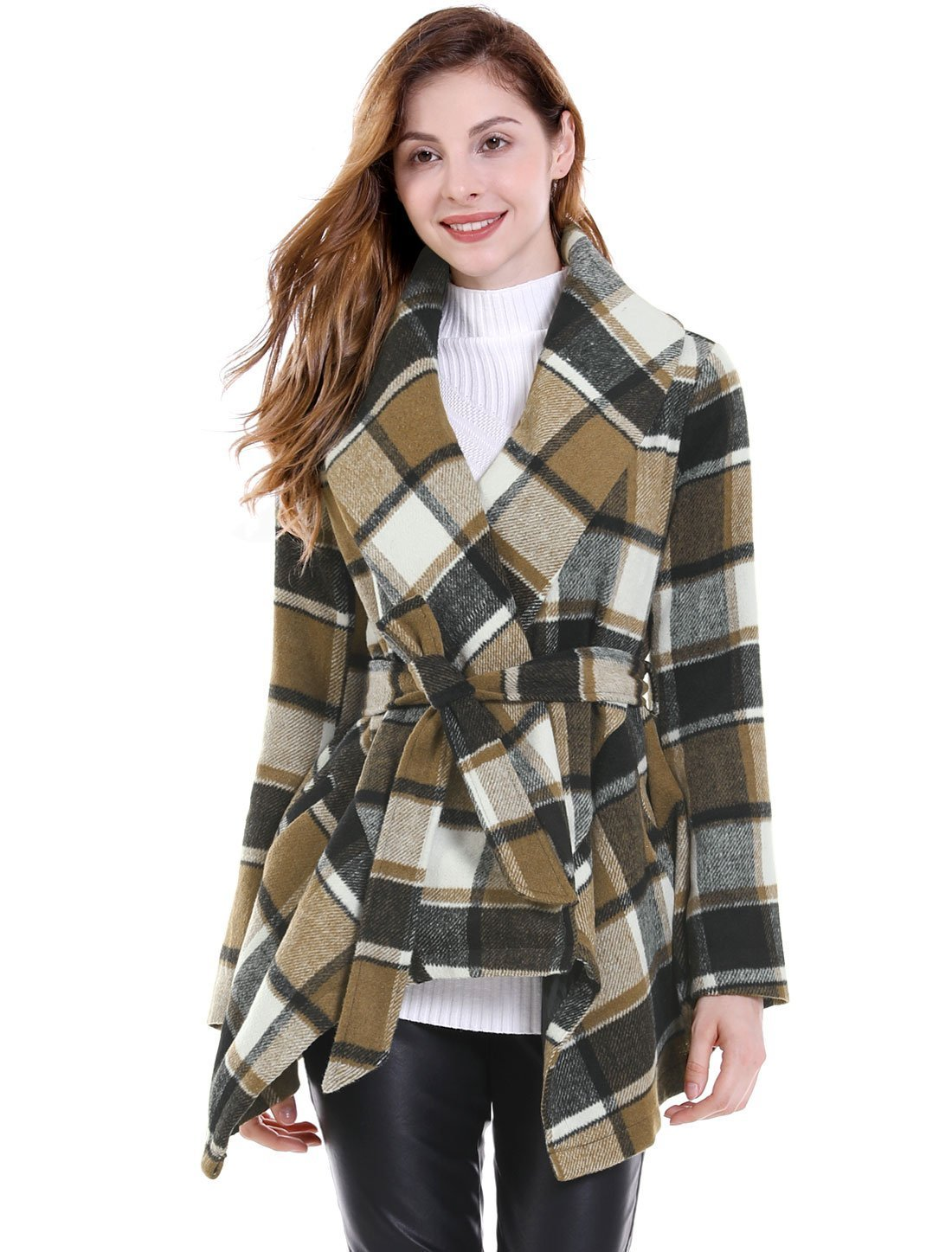 Allegra K Women's Turn Down Collar Asymmetric Hem Belted Plaids Wrap Coat Brown S