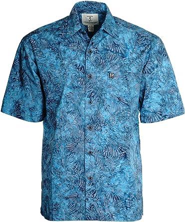 Artisan Outfitters - Camisa Hawaiana de algodón para Hombre - Azul ...