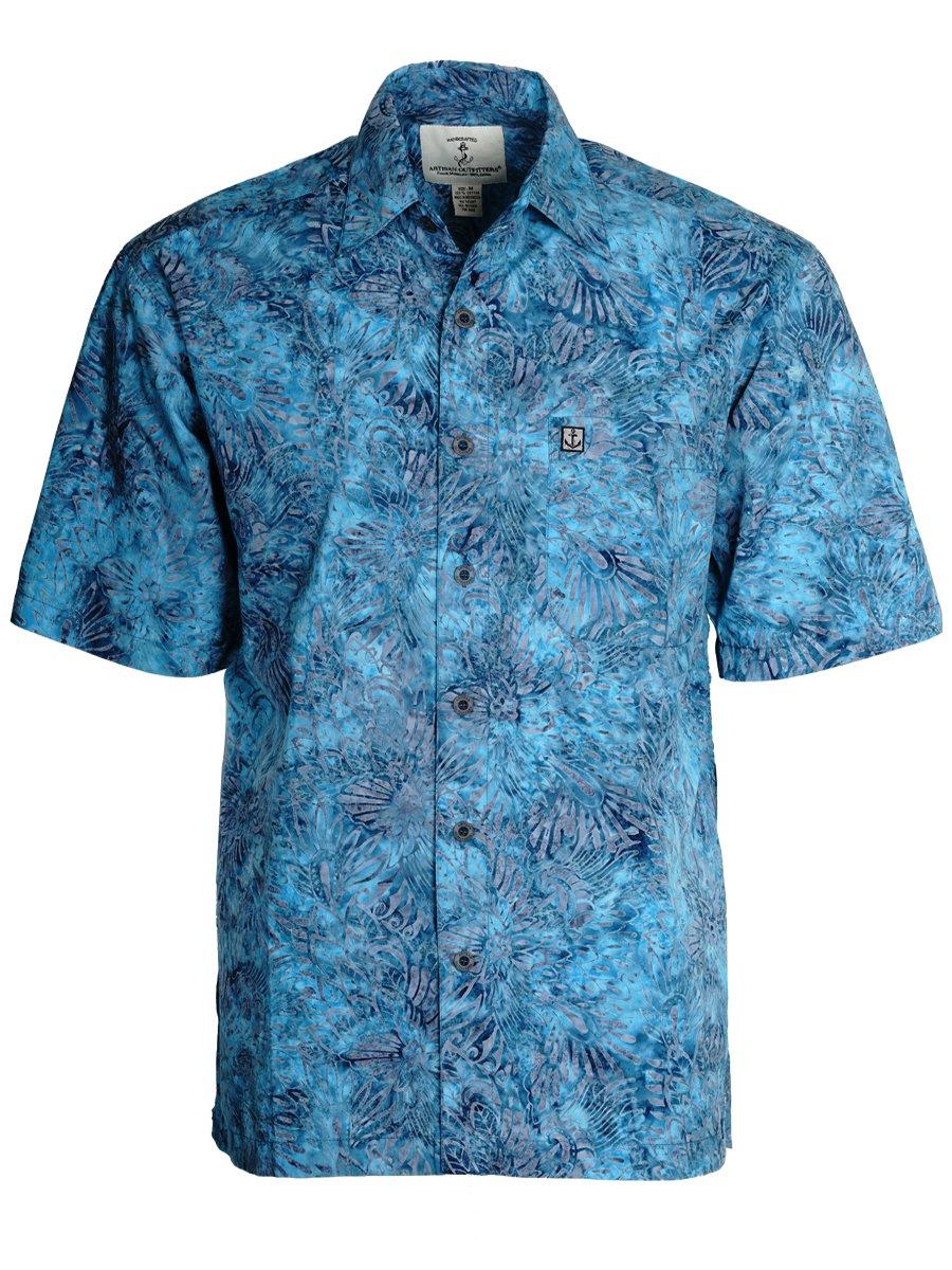 Artisan Outfitters Men's Cajuns Paradise Batik Cotton Hawaiian Shirt