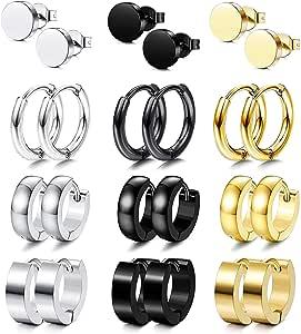 PROJEWE 12 Pares Aro Pendientes de Acero Inoxidable para Hombre Mujer Circonita Redondos Huggie Pendientes CZ Piercing Hipoalergeniños Oro Negro Plateado: Amazon.es: Joyería