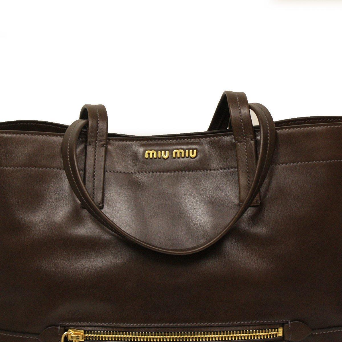 44cf2d0086b3 Amazon.com  Miu Miu RR1820 Vitello Soft Brown Leather Shopping Tote Bag   Shoes