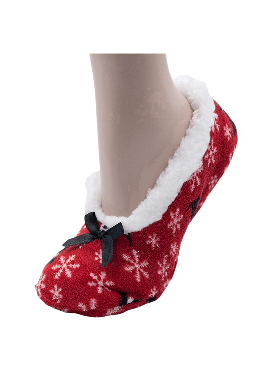 Womens Fun Novelty Fur Knitted Slippers with Grippers Sherpa Lined or Unlined Various Styles