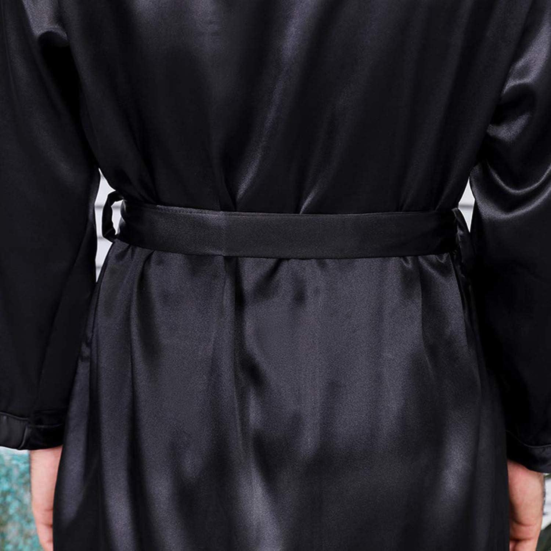 KapokDressy Mens Satin Robe,Soft Silk Long Sleeve House Kimono Bathrobe Sleepwear Loungewear,Robe or Robe Set