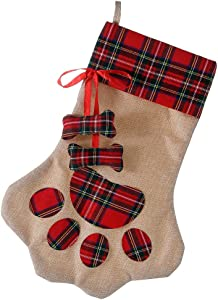 E-FirstFeeling Pet Paw Christmas Stocking for Dog Cat Large Dog Christmas Paw Stocking Christmas Decorations (Bone)