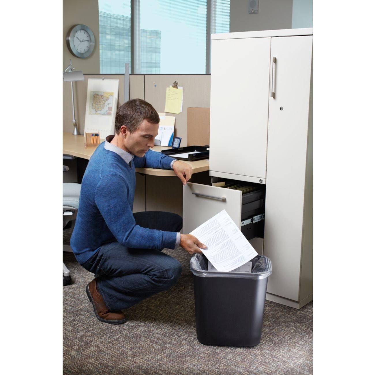 6 Pack 28-1//8-quart Black Rubbermaid Commercial Products SLTYGJHJ FG295600BLA Plastic Deskside Wastebasket