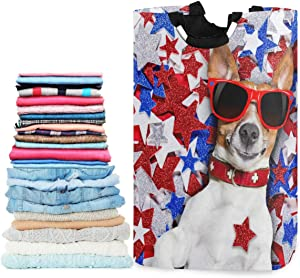 visesunny American Patriotic Dog Blue Red White Star Animal Large Laundry Hamper with Handle Toys and Clothing Organization for Bathroom, Bedroom, Home, Dorm, Travel