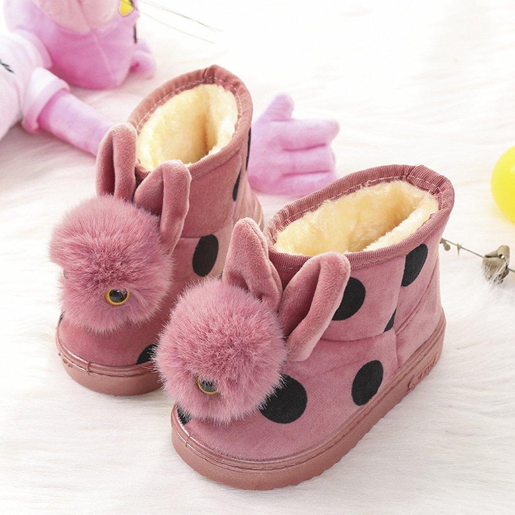 GIY Girls Toddler//Little Fashion Cute Rabbit Fur Lining Warm Snow Boots