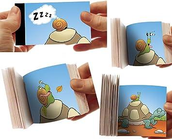 LCDG La Tortuga y el Caracol: el Flipbook Cine de Dedo - Mini Libro Plegable con Animales para niños: Amazon.es: Juguetes y juegos