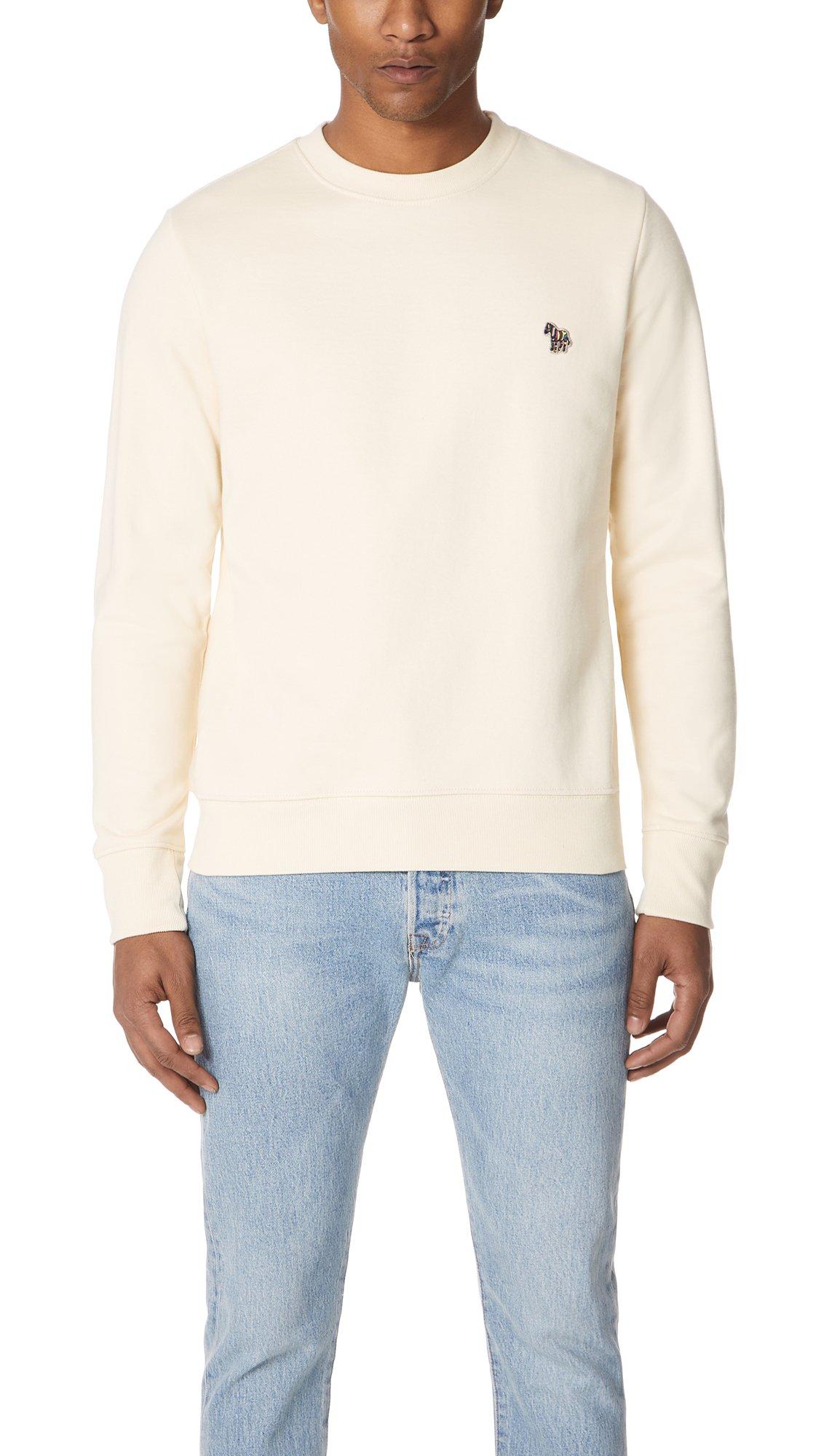 PS by Paul Smith Men's Crew Neck Zebra Sweatshirt, Off White, Medium