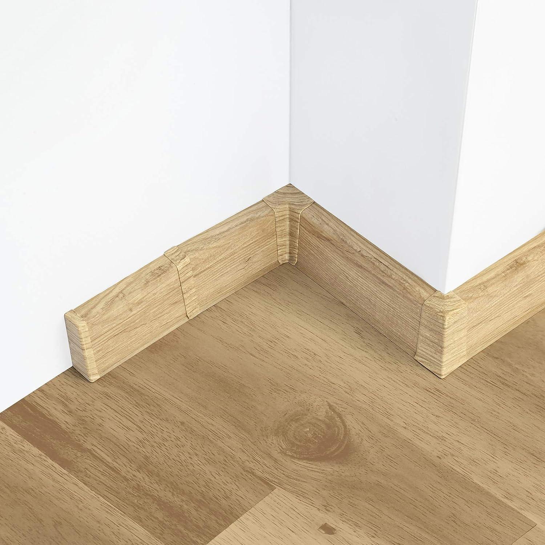 Endst/ück links 55mm PVC Eiche Chillout Laminatleisten Fussleisten aus Kunststoff PVC Laminat Dekore Fu/ßleisten DQ-PP
