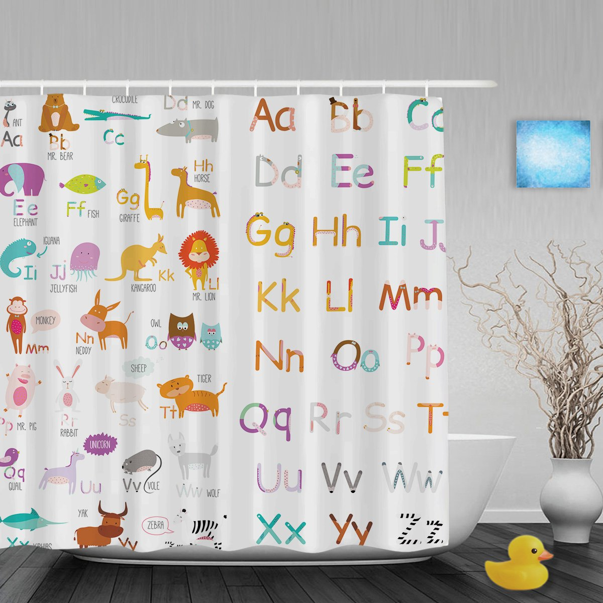 Cute Cartoon Animals Educational Alphabet Letters Kids Nursery Bathroom Shower Curtains High Quality Waterproof Mildew Ployster Fabric 60x72Inch
