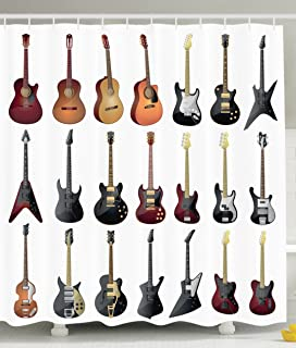 Personalized Decor Guitar Decoration Musician Gifts Classic Electro Guitar  Lovers Bathroom Decorative Shower Curtain Of Teen