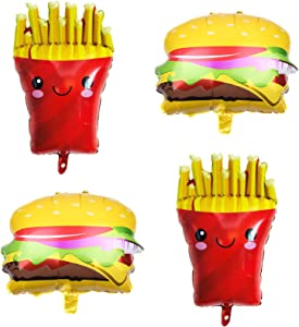 4Pcs French Fries Balloons Hamburg Balloons Food Birthday Foil Balloons for Birthday Fast Food Snacks Themed Party Decorations Supplies