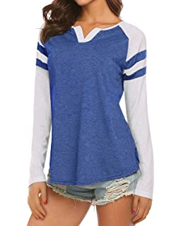 24dce5c1a4 Womens Casual Raglan Long Sleeve T-Shirt Loose Blouse Henley V Neck Baseball  Tee Shirt