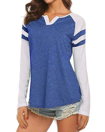 ad74ddd5ea0f2 Womens Casual Raglan Long Sleeve T-Shirt Loose Blouse Henley V Neck  Baseball Tee Shirt