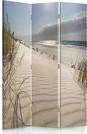 Feeby Frames Paravent d/éco Plage Impression 1 Face 3 pans Bleu 110x150 cm