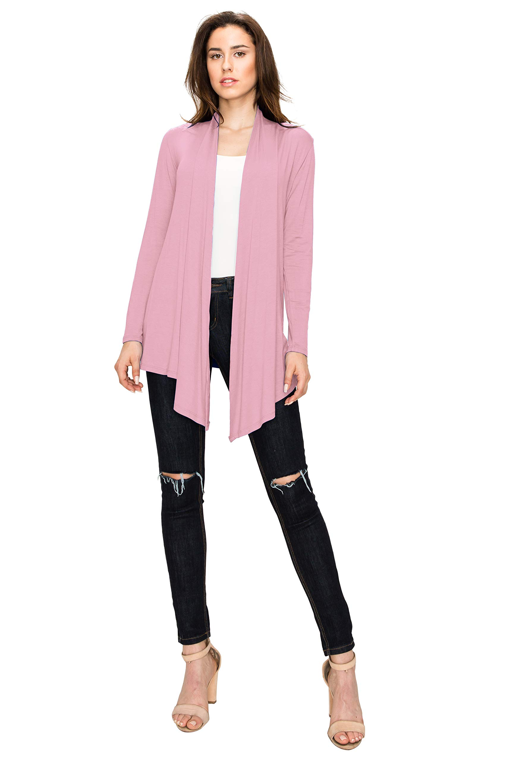 WSK850 Womens Draped Open- Front Cardigan XXL Pink by Lock and Love (Image #2)