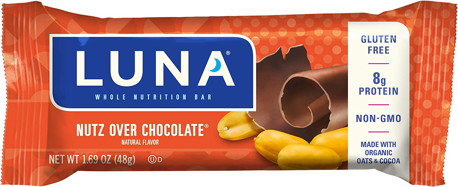 LUNA BAR - Gluten Free Snack Bars - Nutz Over Chocolate Flavor - 9g of protein - Non-GMO - Plant-Based Wholesome Snacking - On the Go Snacks (1.69 Ounce Snack Bars, 15 Count)