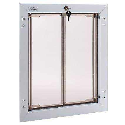 PlexiDor White Dog Door For Door Mounting   Energy Efficient Weatherproof  Performance Pet Door With Lock