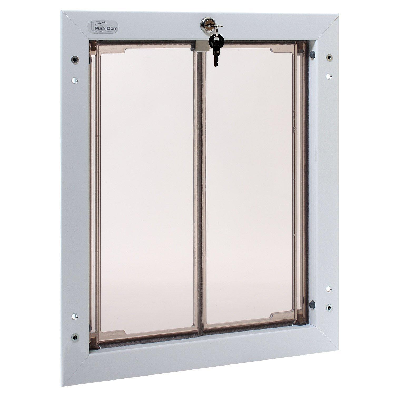 Plexidor Weatherproof Dog Doors - Large White Door Mounted Energy Efficient Pet Door with Steel Security Panel to Lock Doggie Door When You're Away and FREE eXtreme Dog Training Clicker Bundle