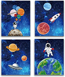Starry Outer Space Art Print-Galaxy Planets Astronauts Space Themed Canvas Wall Art(8