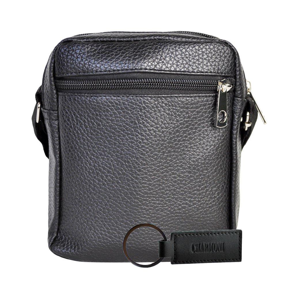 34c39c6973 Charmoni - Sac pochette sacoche à bandoulière et sa porte clé cuir en cuir  synthétique. Agrandir l'image