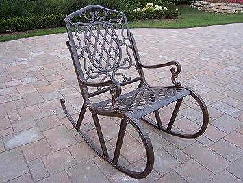 Oakland Living Mississippi Cast Aluminum Rocking Chair, Antique Bronze