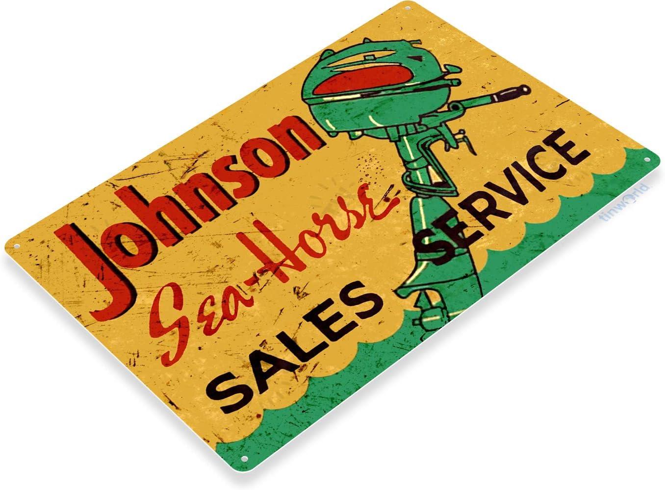 Johnson Sea-Horse Outboard Motors RY Lake Beach House Garage Marina Boat Sign
