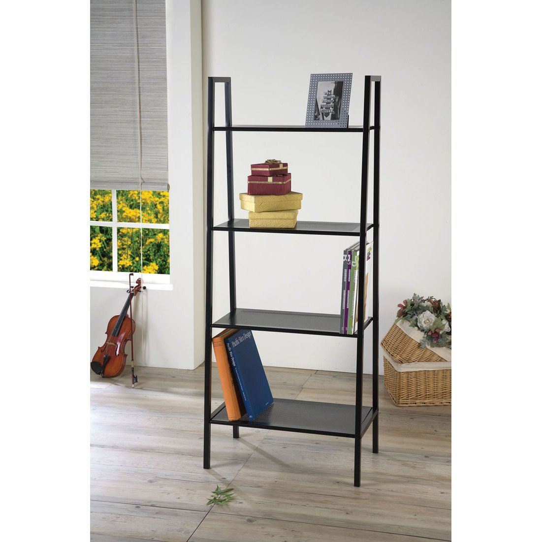 Bookcase Four-Tiered in Black Finish - 58 in High x 24 in Wide x 14 in Deep. Assembly Required