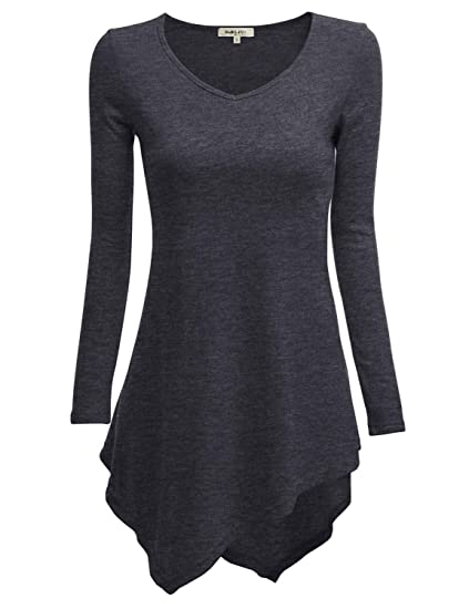 7635d5b7551676 TWINTH V-Neck Tunic Handkerchief Longline Tunic T-Shirt Dress Top for Women  with