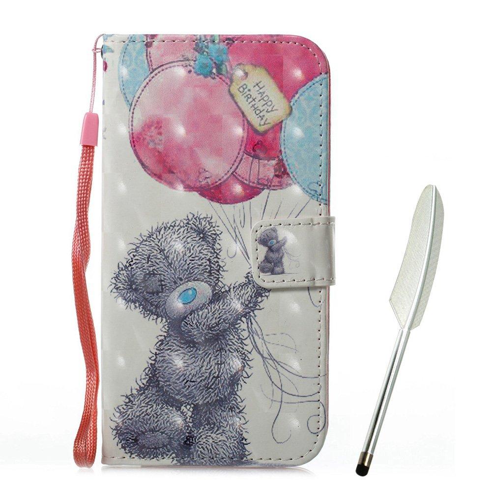 Custodia a portafoglio per iPhone X in pelle PU, effetto Edaroo Bling, delizioso motivo con farfalle rosa, colorata, sottile aderenza, morbido interno in TPU con porta carte, chiusura magnetica, Bear Balloon