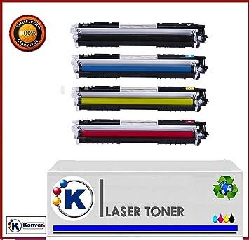 4 Toner Compatible HP 126A, CE310A CE311A CE312A CE313A, (Negro ...