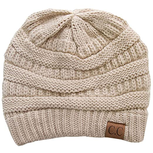 83dfe769adbf7d ScarvesMe CC Trendy Warm Chunky Soft Stretch Cable Knit Beanie Skully  (Beige)