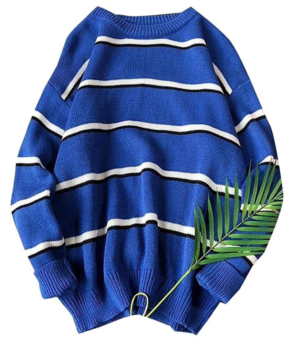 ouxiuli Mens Fashion Stripe Pullover Striped Sweater Assorted Color Knitwear Sweater