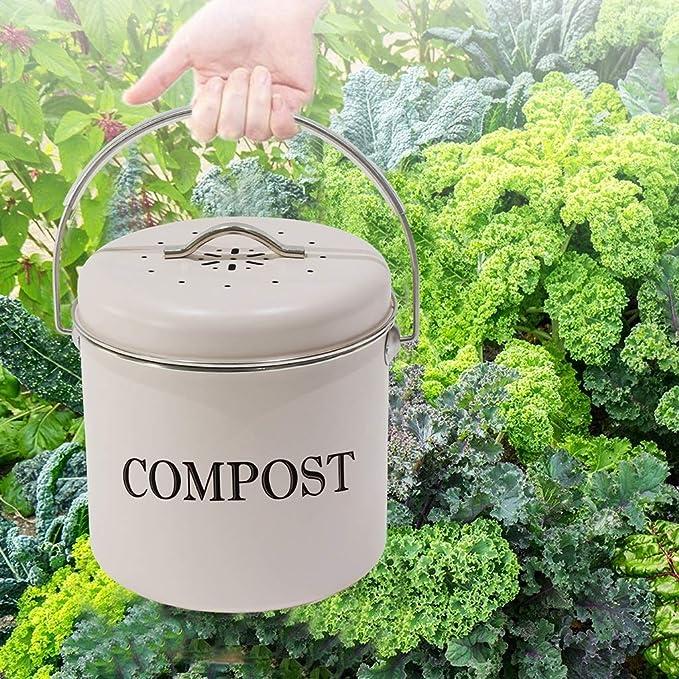 Kai Xin Cocina Interior Compost Caja Redonda Blanca del hogar Espesado Cocina residuos de Materia orgánica del Cubo de la manija con la Tapa (Color : A): Amazon.es: Hogar