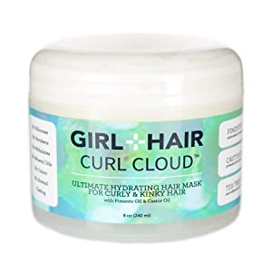 GIRL+HAIR Hair Mask and Deep Conditioning Hair Treatment, Hydrating Coconut, Aloe Vera and Castor Oil For Dry, Damaged,Curly & Coily Hair, No Silicones or Parabens, All Hair Types - 8 fl.oz.