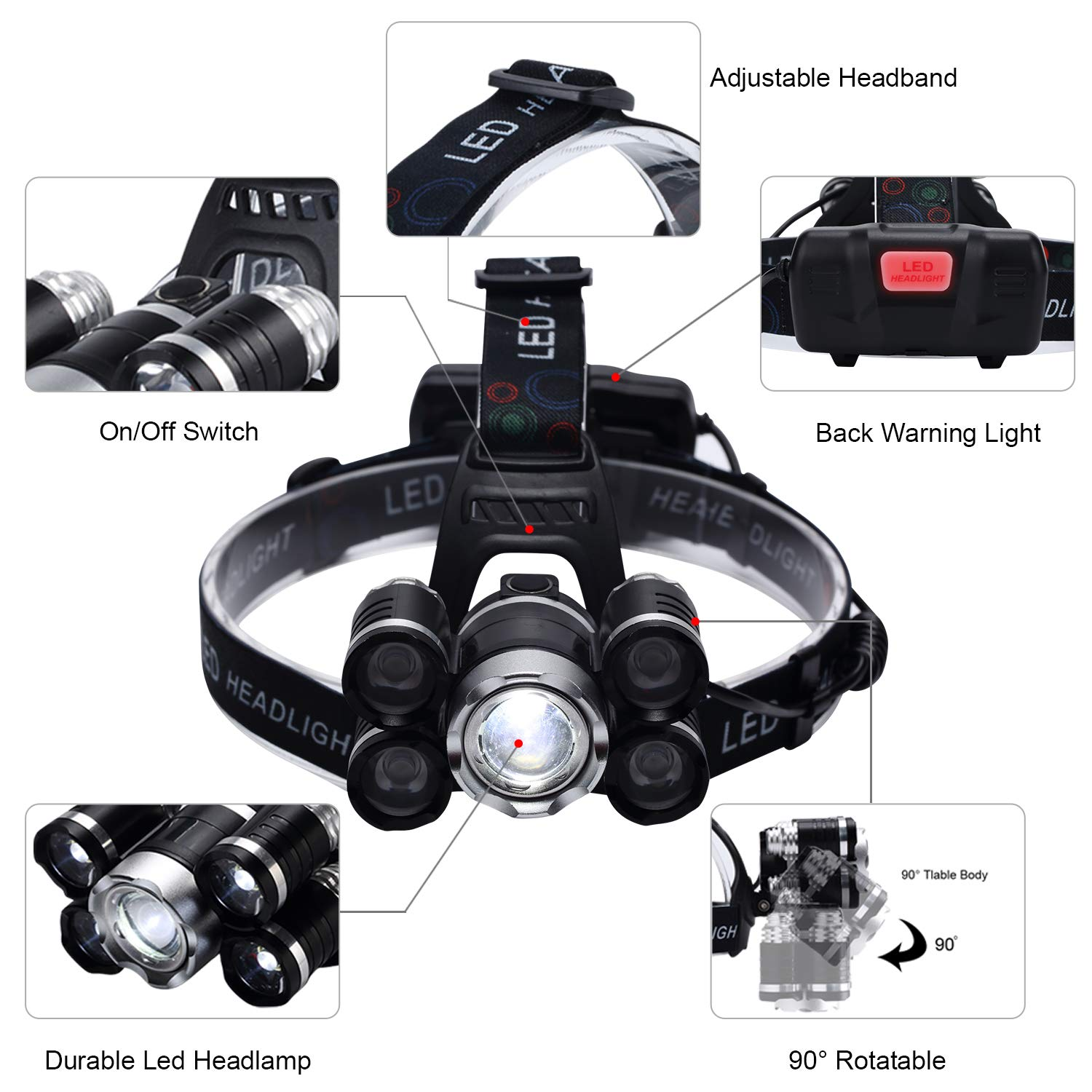 KKlite LED Rechargeable Headlamp Headlights - Brightest 6800 lumen Waterproof Work Head Flashlight included 18650 Batteries Car Charger Wall Charger and USB Cable for Camping Running Cycling Hiking