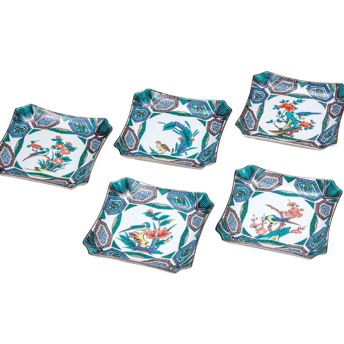 和食器 九谷焼 小皿5枚セット 古九谷風花鳥絵変り BK5-0099   B076Q7JCW8