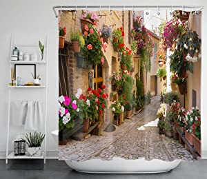 LB European Shower Curtain with Nature Scene,3D Printing Mediterranean Greece Scene Old Street Flowers Picture,Waterproof Polyester Fabric Bathroom Decor 72 x 72 Inch